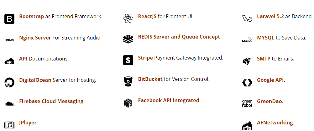 tech stack for app list